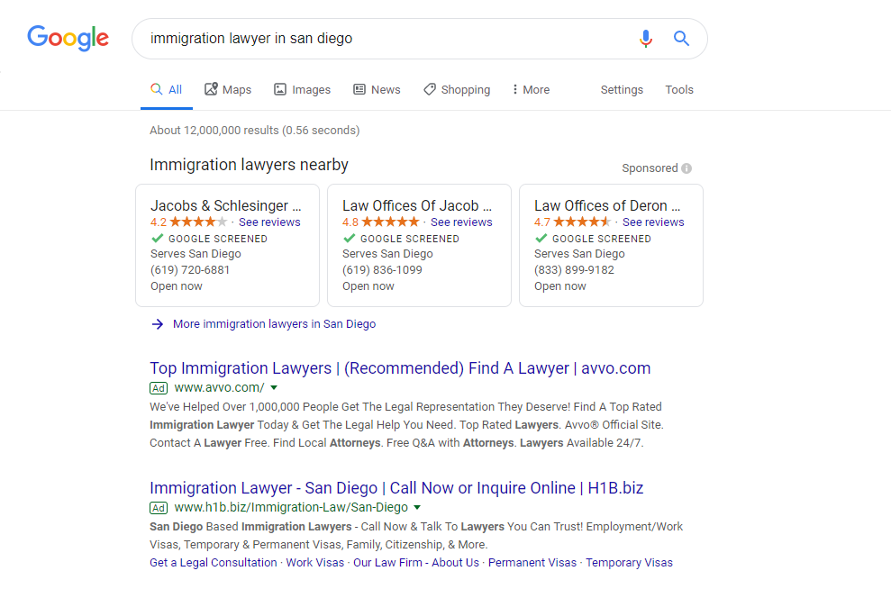 "Three Local Services Ads (LSAs) appear at the top of a Google search engine results page in a search ""immigration lawyer san diego""."